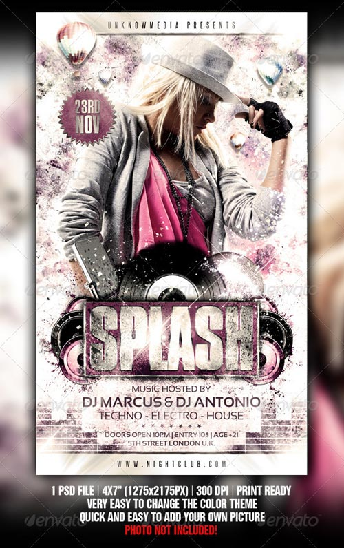 GraphicRiver Grungy Splash Party Flyer Template