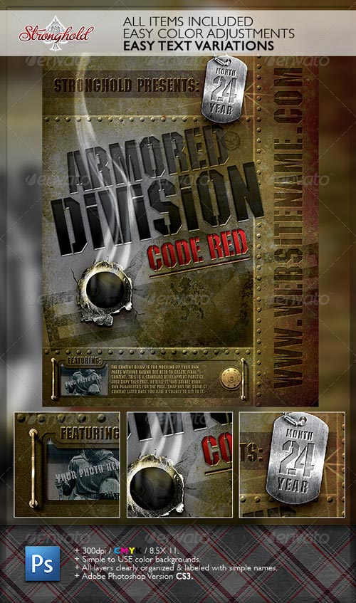 GraphicRiver Vintage Military Armored Flyer Template