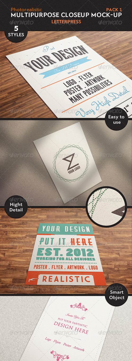 GraphicRiver 5 Multipurpose Closeup Mock Up Pack 01