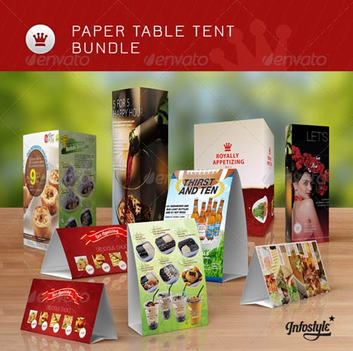 GraphicRiver Bundle Paper Table Tent Mock-up Templates  sc 1 st  Graphic 4 VIP & Bundle: Paper Table Tent Mock-up Templates