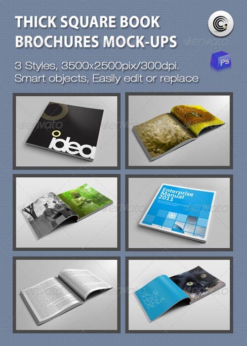 GraphicRiver Thick Square Book Brochures Mock-ups