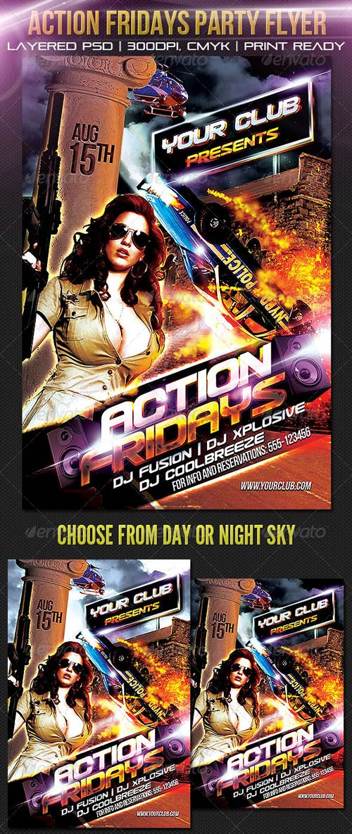 GraphicRiver Action Fridays Party Flyer