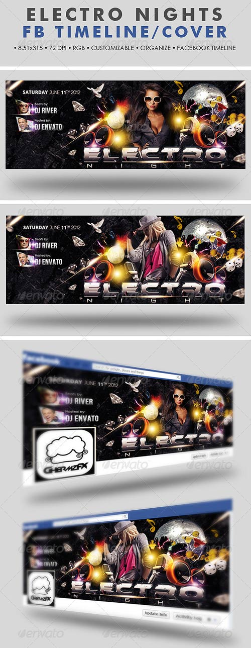 GraphicRiver Electro Nights Facebook Timeline Cover