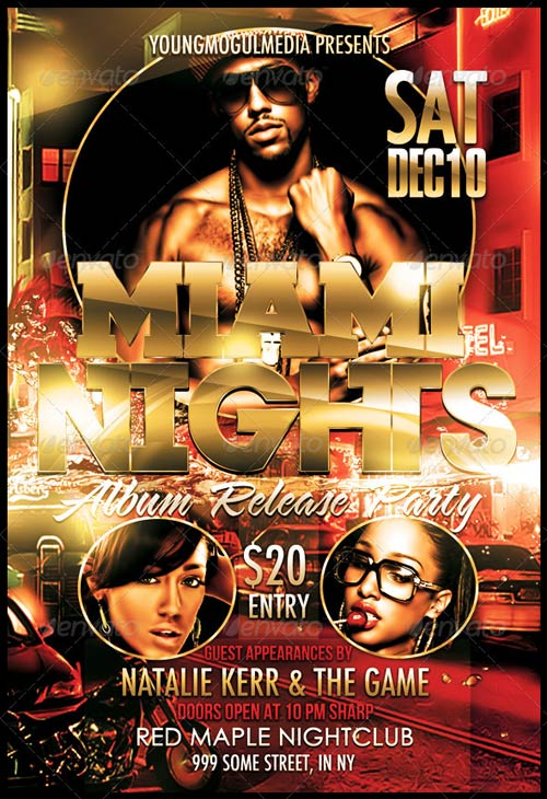GraphicRiver Miami Nights Flyer and Mixtape
