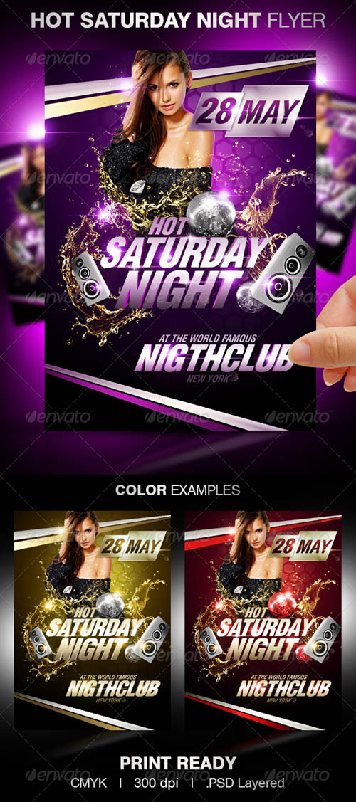 GraphicRiver Hot Saturday Night Party Flyer