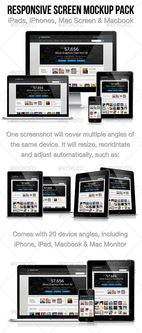 GraphicRiver Responsive Screen Mockup Pack