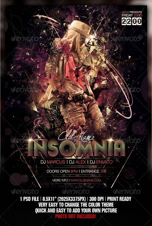 GraphicRiver Insomnia Night Club Party / Concert Flyer / Poster