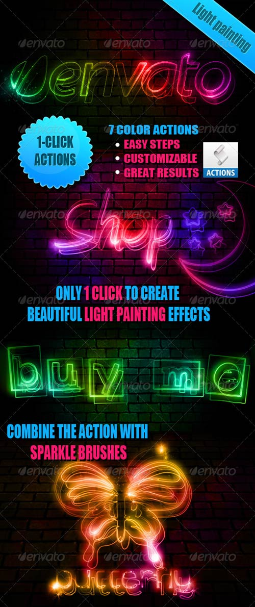 GraphicRiver Light Painting Effect Photoshop Actions