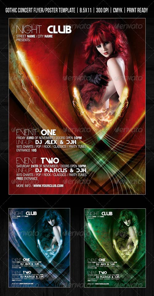GraphicRiver Gothic Night Club Party / Concert Flyer / Poster
