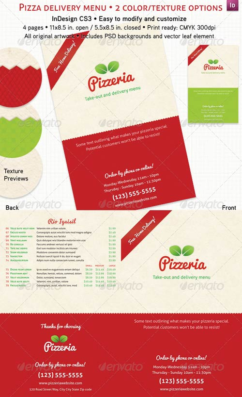 GraphicRiver 4 Page Pizzeria Menu