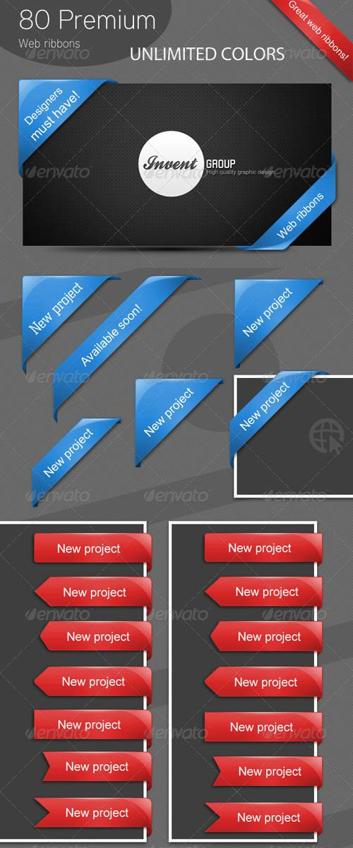 GraphicRiver 80 Premium Web Ribbons