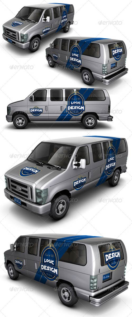 GraphicRiver Minibus Car Mock Up
