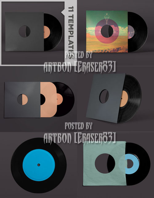 Go Media's Arsenal PSD Templates: Vinyl Record Mockup Templates