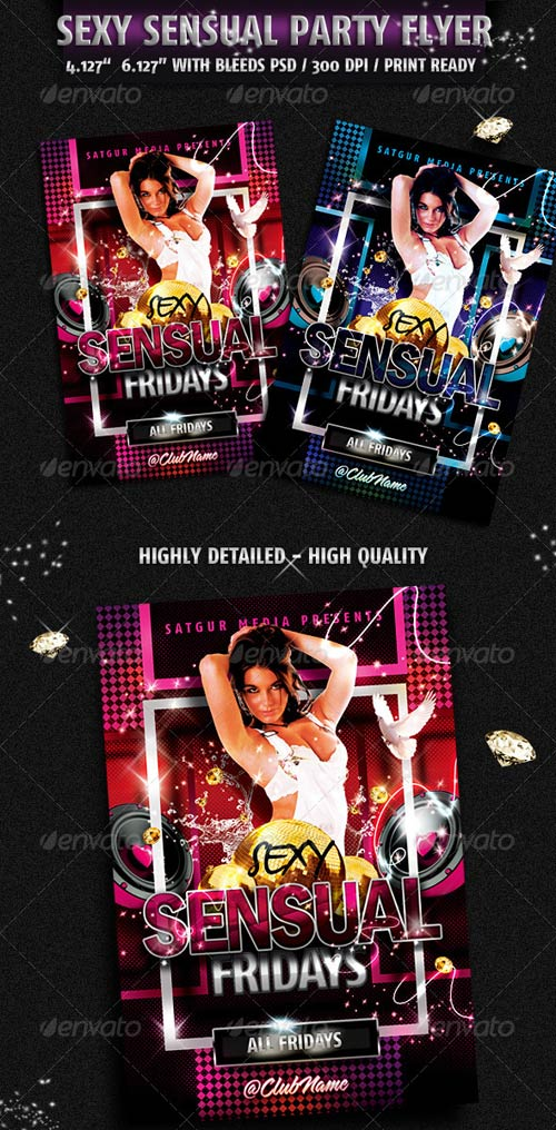 GraphicRiver Sensual Music Dance DJ Night Party Flyer