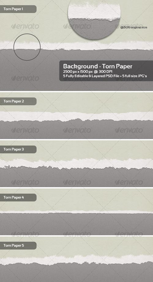 GraphicRiver Torn Paper Backgrounds / Textures - 5 Themes