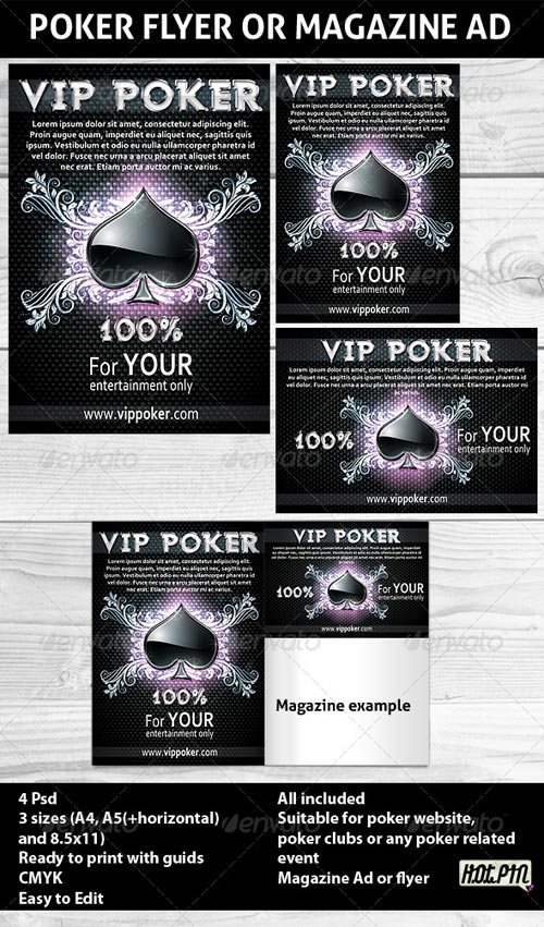 GraphicRiver Poker Magazine Ads or flyers Template