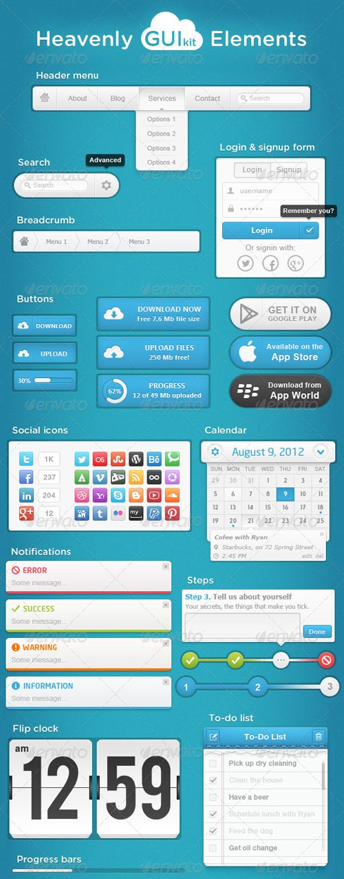 GraphicRiver Heavenly GUI Kit Elements
