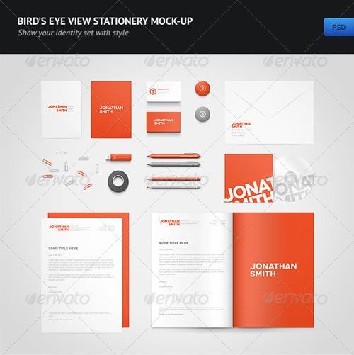 GraphicRiver Bird's Eye View Stationery Mock-up