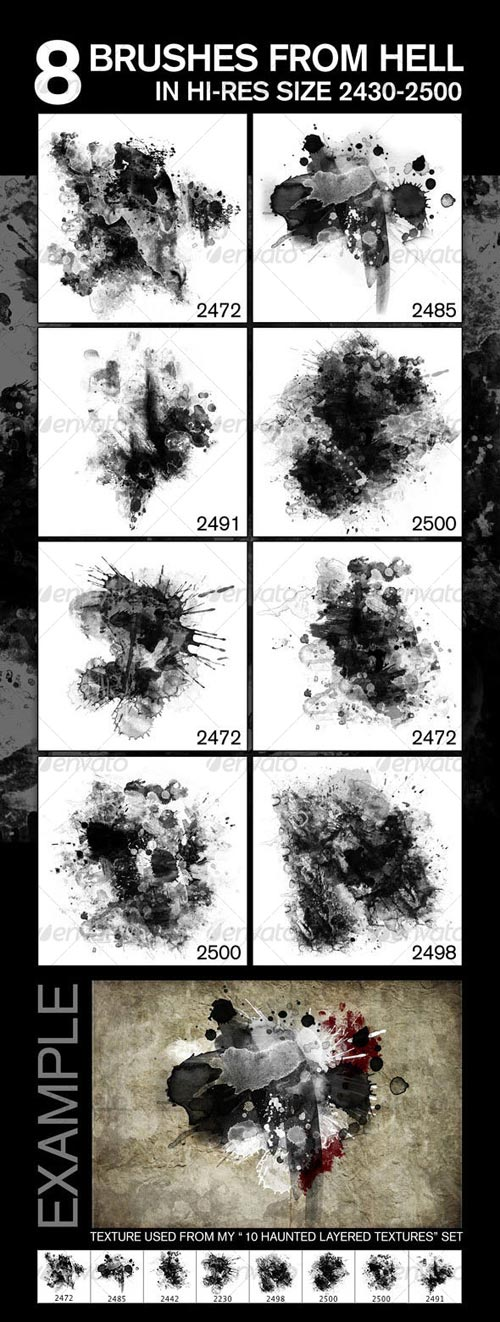 GraphicRiver 8 Fabulous Hi-Res Brushes (.ABR) from Hell!