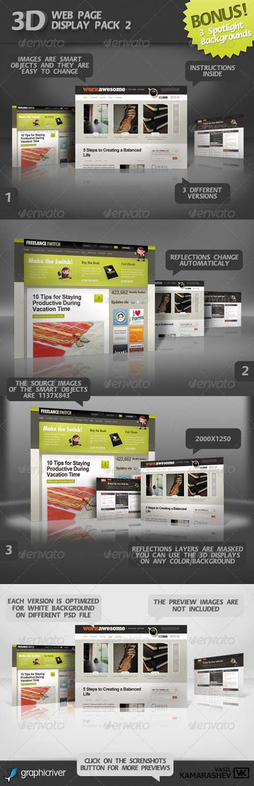 Graphicriver 3D Web Page Display Pack 2 +BONUS 3 Spotlight BGs