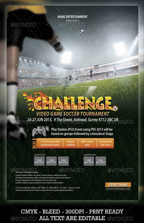 GraphicRiver Soccer Video Game Flyer