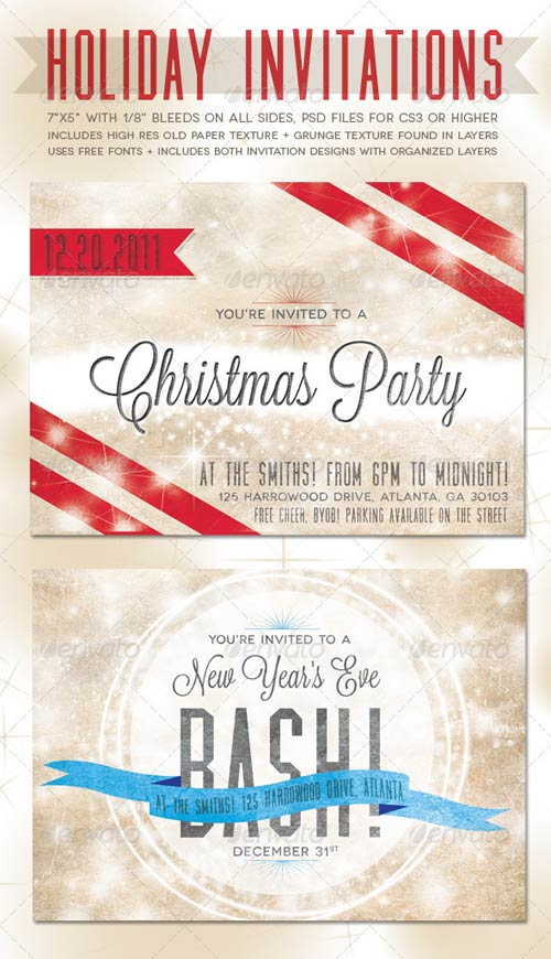 GraphicRiver Holiday Invitations