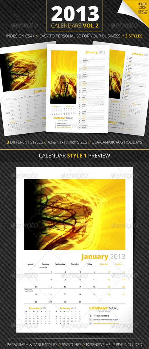 GraphicRiver 2013 Calendars Vol 2