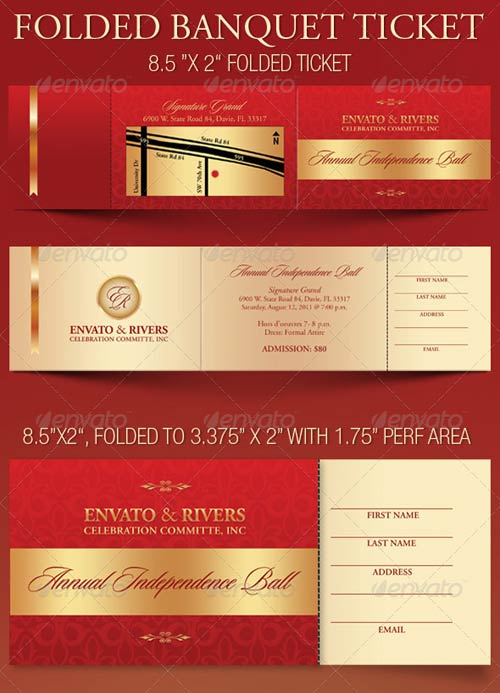 GraphicRiver Folded Banquet Ticket Template
