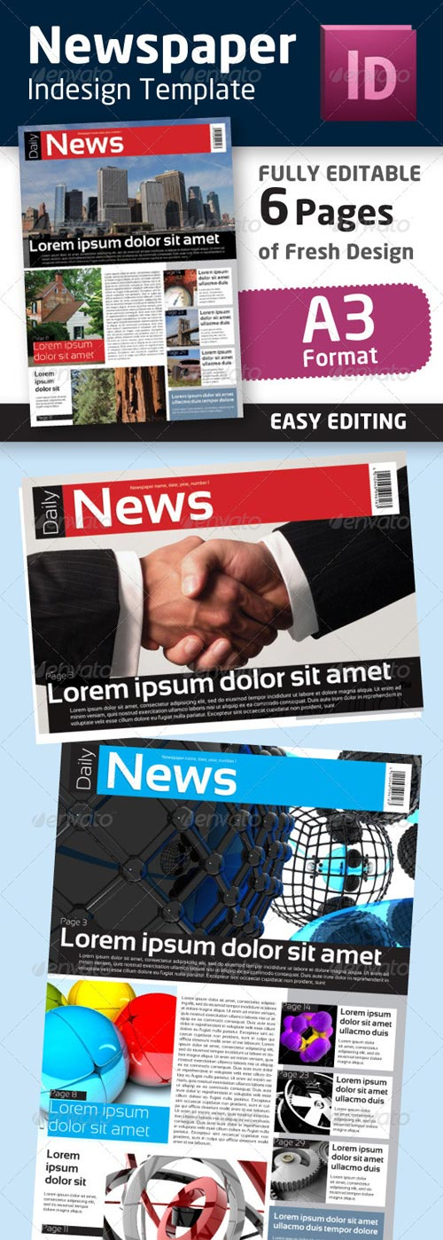 GraphicRiver Indesign Newspaper Template in Format A3