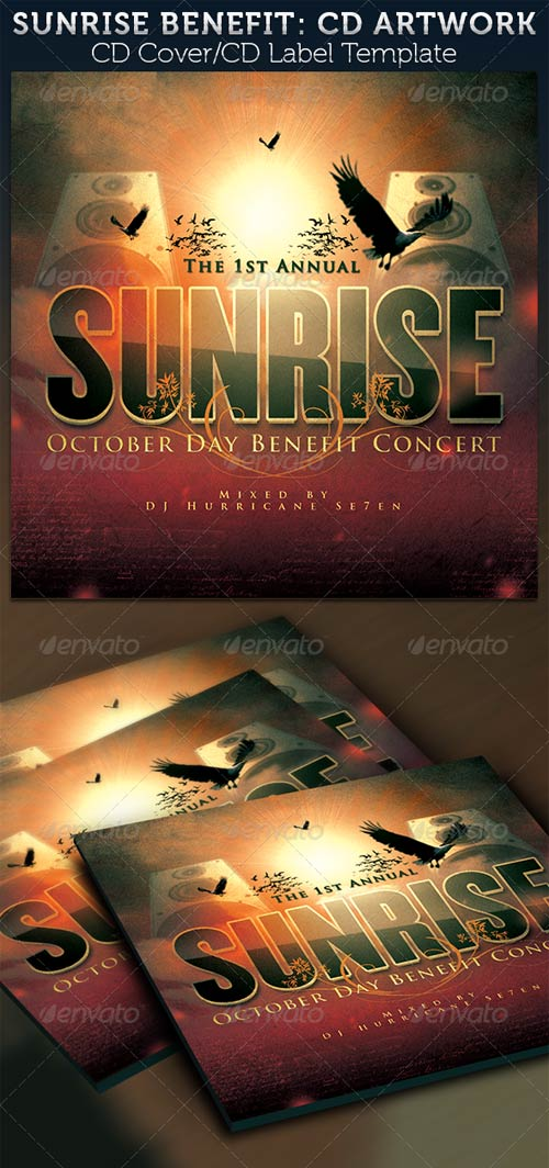 GraphicRiver Sunrise Benefit Concert: CD Cover Artwork Template