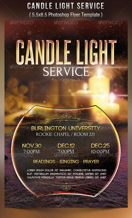GraphicRiver Candle Light Service Flyer Templates