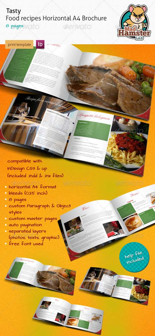 GraphicRiver Tasty Food Recipe A4 Horizontal Brochure