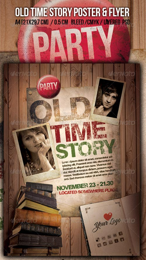 GraphicRiver Old Time Story Party A4 Poster