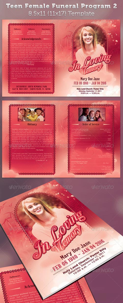 GraphicRiver Teen Funeral Program Template