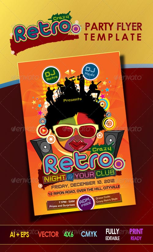 GraphicRiver Crazy Retro Party Flyer Template