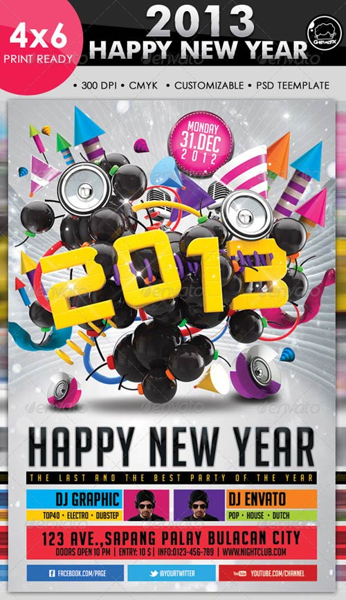 GraphicRiver 2013 Happy New Year Flyer Template