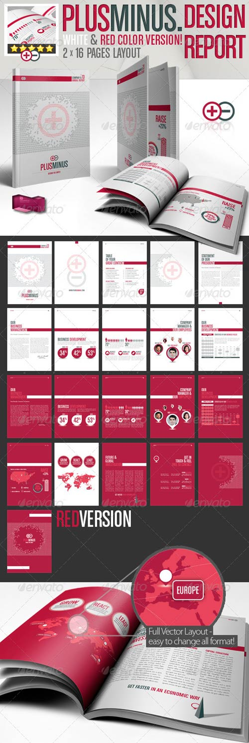 GraphicRiver Corporate Brochure PLUSMINUS A4 // 2 Color Version