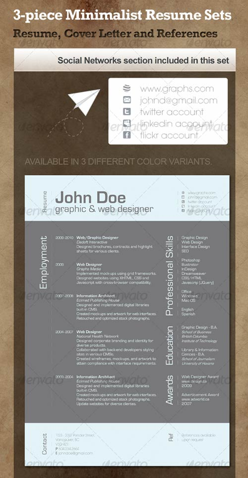 GraphicRiver 3-Piece Minimalist Resume