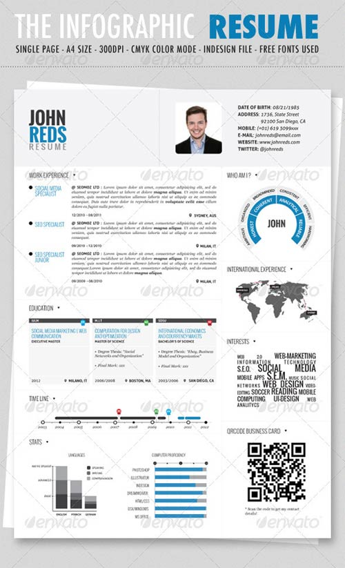 graphicriver clean infographic resume. Black Bedroom Furniture Sets. Home Design Ideas