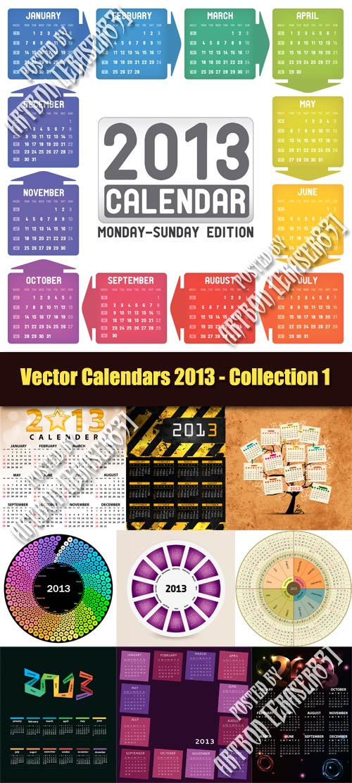 Vector Calendars 2013 - Collection 1