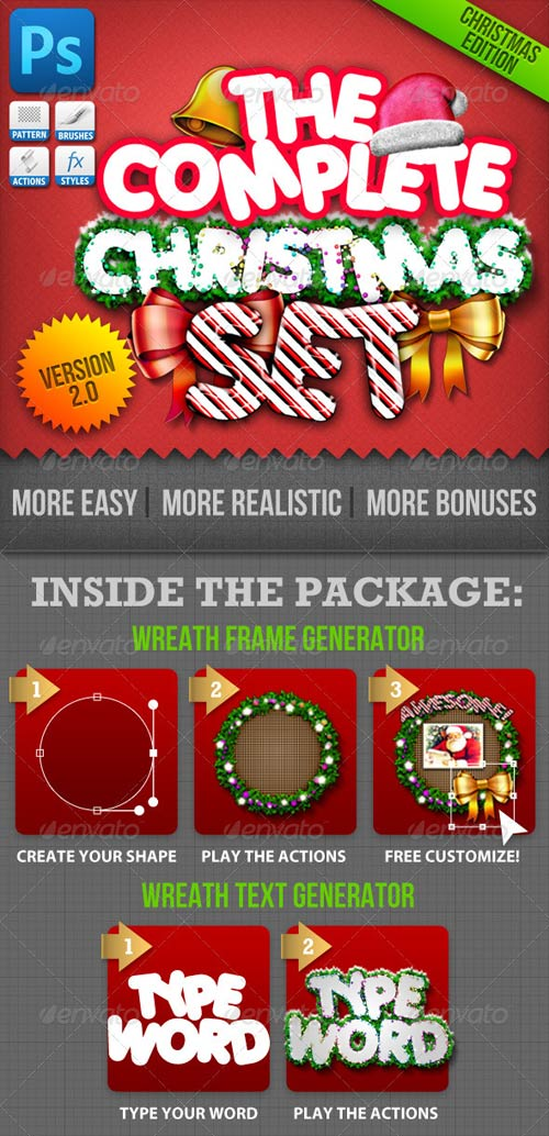 GraphicRiver Christmas Generator Set: Actions and Text Styles