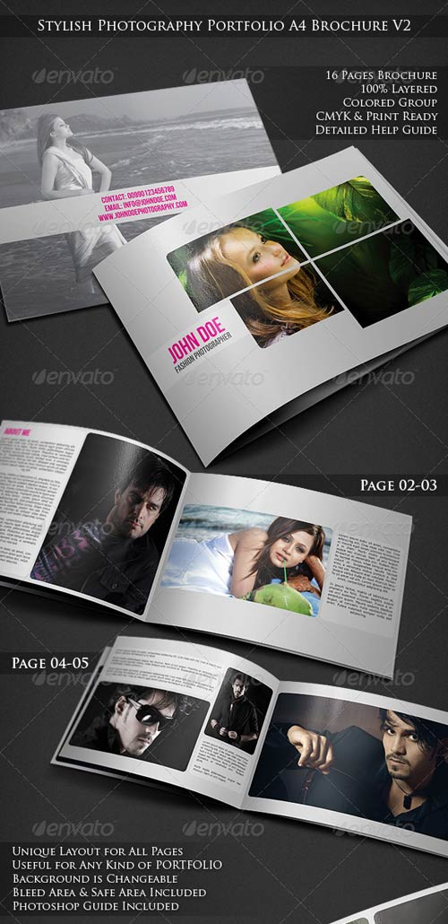 GraphicRiver Stylish Photography Portfolio A4 Brochure V2