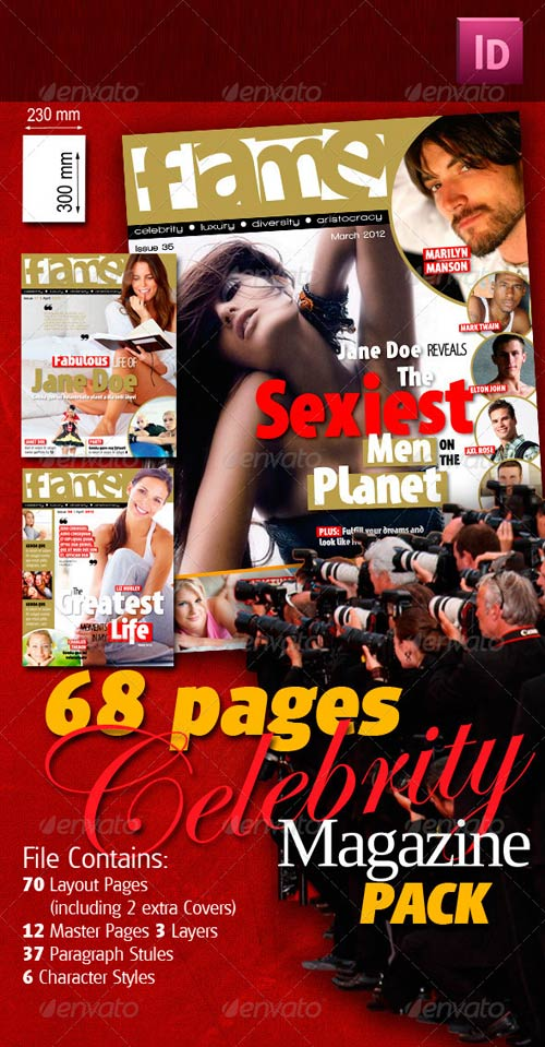 GraphicRiver 68 Pages Celebrity Magazine Pack