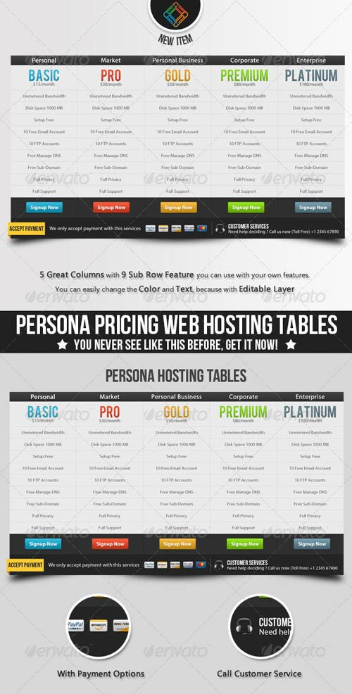 GraphicRiver Persona Pricing Web Hosting Tables