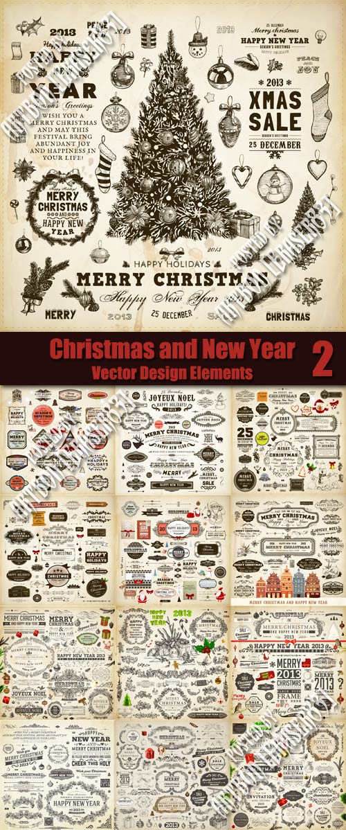 Christmas and New Year Vector Design Elements 2