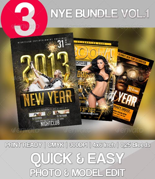 GraphicRiver 3x New Year Flyer Bundle Vol. 1