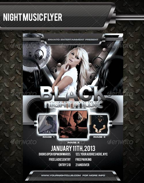 GraphicRiver Black Night Music Flyer Template
