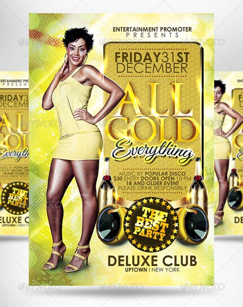 GraphicRiver All Gold Everything Party Flyer