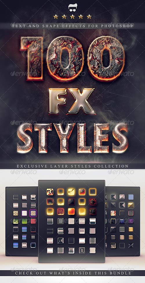 GraphicRiver 100 Layer Styles Bundle - Text Effects Set