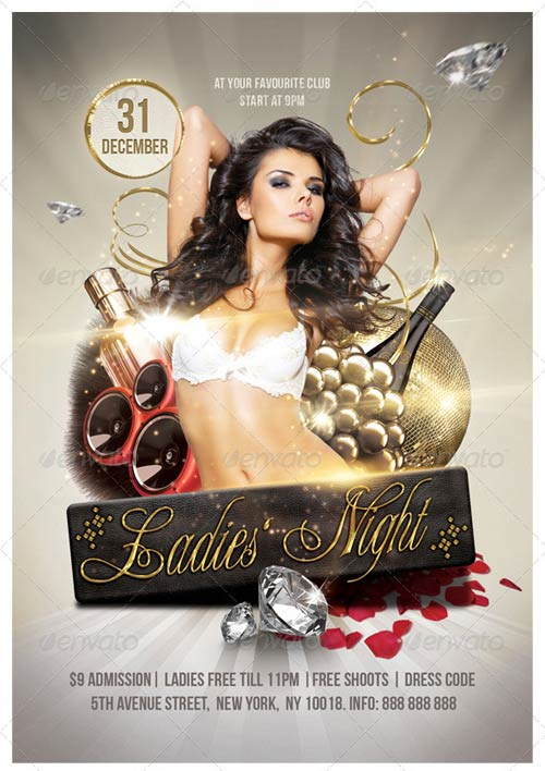 GraphicRiver Golden Ladies Party Flyer 6 x 4